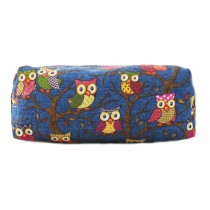 PC - Miss Lulu Canvas Pencil Case  Owl Navy