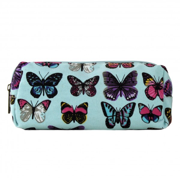 PC - Miss Lulu Canvas Pencil Case Butterfly Blue