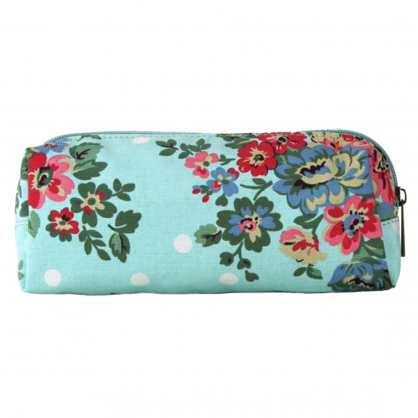 PC - Miss Lulu Canvas Pencil Case FlowerPolka Dot Blue