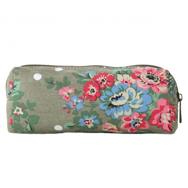 PC - Miss Lulu Canvas Pencil Case Flower Polka Dot Grey