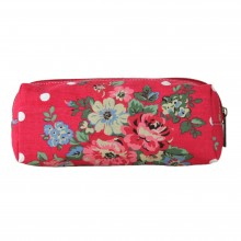 PC - Miss Lulu Canvas Pencil Case Flower Polka Dot Red