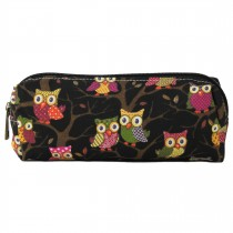PC - Miss Lulu Canvas Pencil Case Owl Black