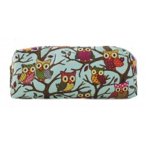 PC - Miss Lulu Canvas Pencil Case Owl Blue
