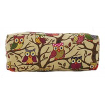 PC - Miss Lulu Canvas Pencil Case Owl Beige