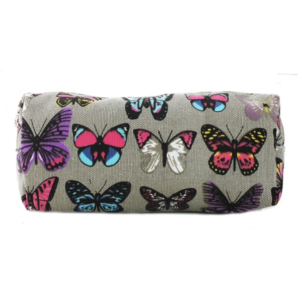 PC - Miss Lulu Canvas Pencil Case Butterfly Grey