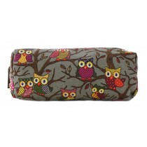 PC - Miss Lulu Canvas Pencil Case Owl Grey
