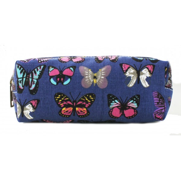 PC - Miss Lulu Canvas Pencil Case Butterfly Navy