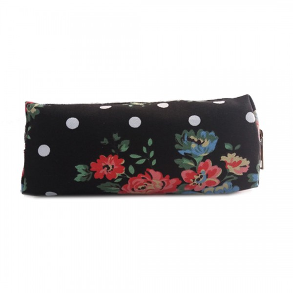 PC - Miss Lulu Canvas Pencil Case Flower Polka Dot Black