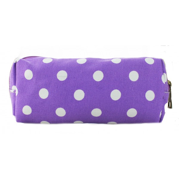 PC - Miss Lulu Canvas Pencil Case Polka Dot Purple