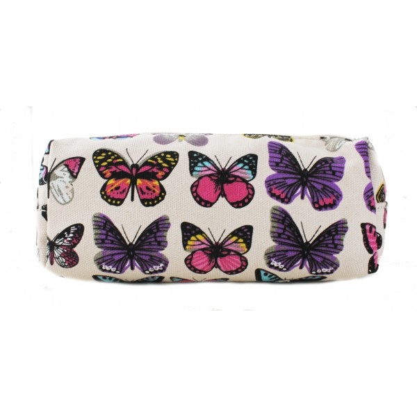PC - Miss Lulu Canvas Pencil Case Butterfly Pink