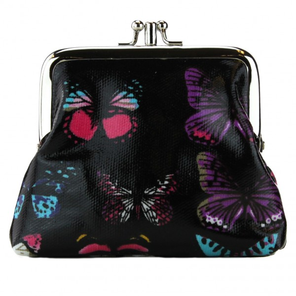 Coin Purse Oilcloth Butterfly Black