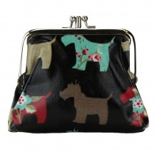 Coin Purse Oilcloth Dog Navy