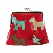 Coin Purse Oilcloth Dog Plum