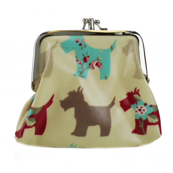 Coin Purse Oilcloth Dog Beige