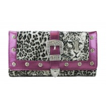 L1154 - Miss Lulu Fur Front Studded Flapover Purse Leopard Purple