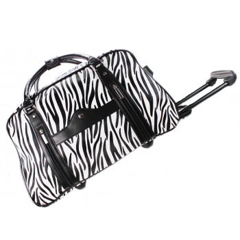 L1151 - Miss Lulu Leather Look Zebra Print Travel Trolley Black And White