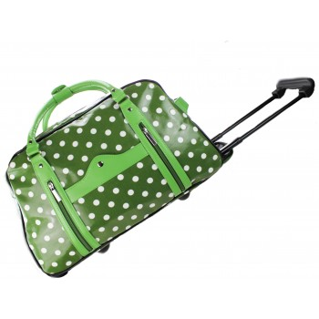 L1151D - Miss Lulu Leather Look Polka Dot Print Travel Trolley Green