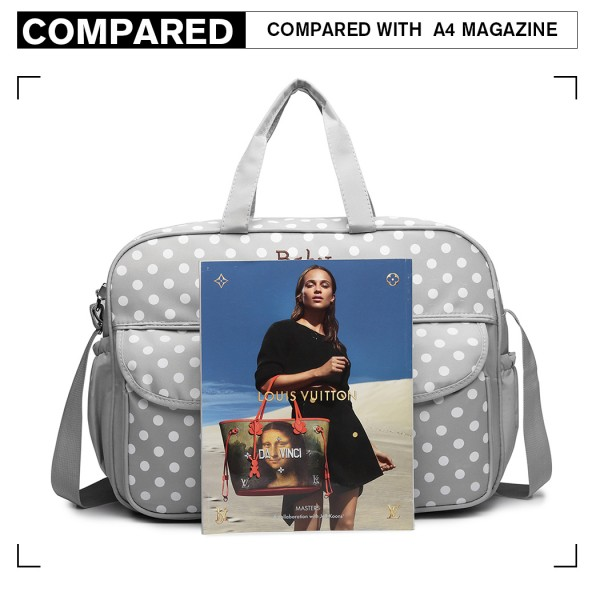 08155 - Maternity Changing Bag Polka Dot Grey