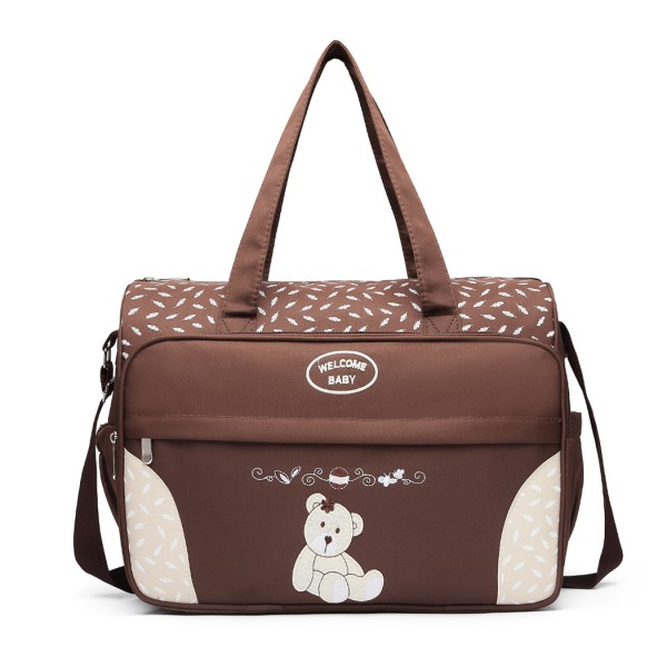 08190 - Kono Teddy Bear 'Welcome Baby' Changing Bag with Changing Mat - Coffee
