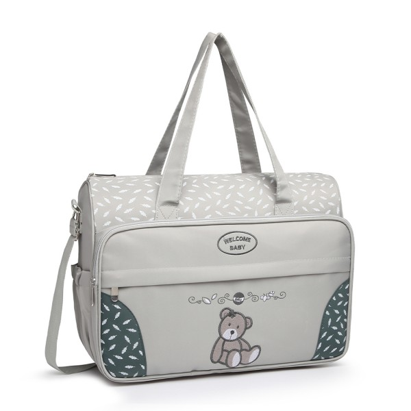 08190 - Kono Teddy Bear 'Welcome Baby' Changing Bag with Changing Mat - Grey