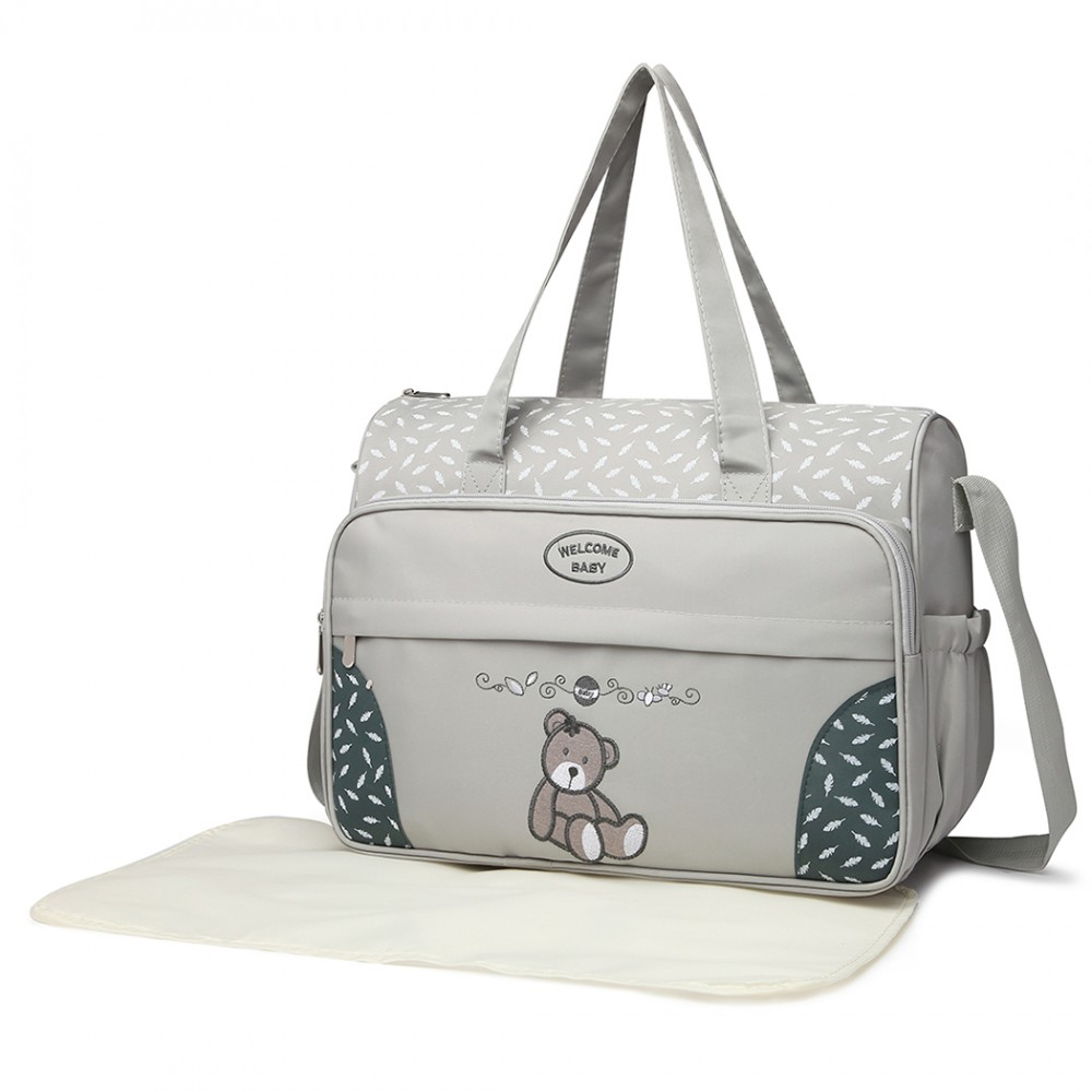 9f48ada5ad7de 08190 - Kono Teddy Bear 'Welcome Baby' Changing Bag with Changing Mat - Grey