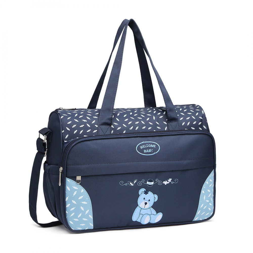 31439cb597161 08190 - Kono Teddy Bear 'Welcome Baby' Changing Bag with Changing Mat - Navy
