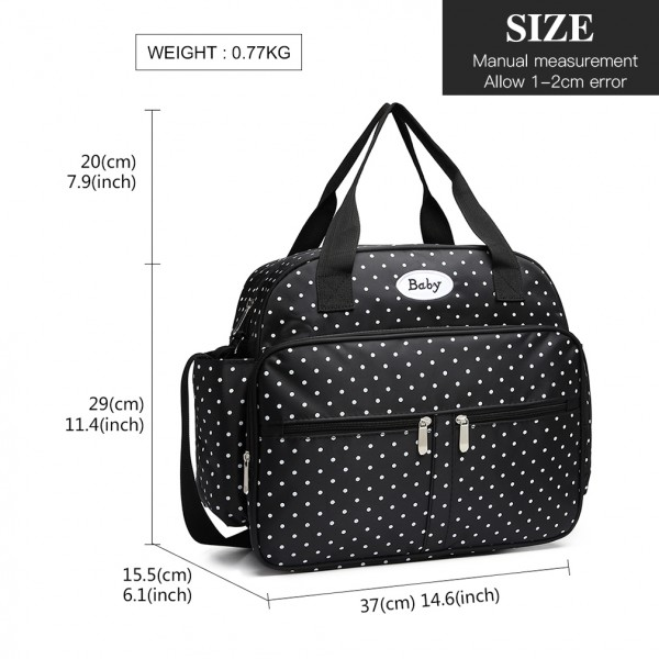 08300 - Kono Polka Dot Baby Changing Bag with Changing Mat - Black