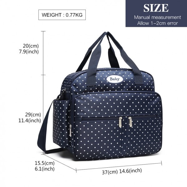 08300 - Kono Polka Dot Baby Changing Bag with Changing Mat - Navy