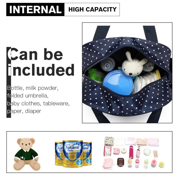 08300 - Kono Polka Dot Baby Changing Bag with Changing Mat - Navy