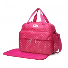 08300 - Kono Polka Dot Baby Changing Bag with Changing Mat - Pink