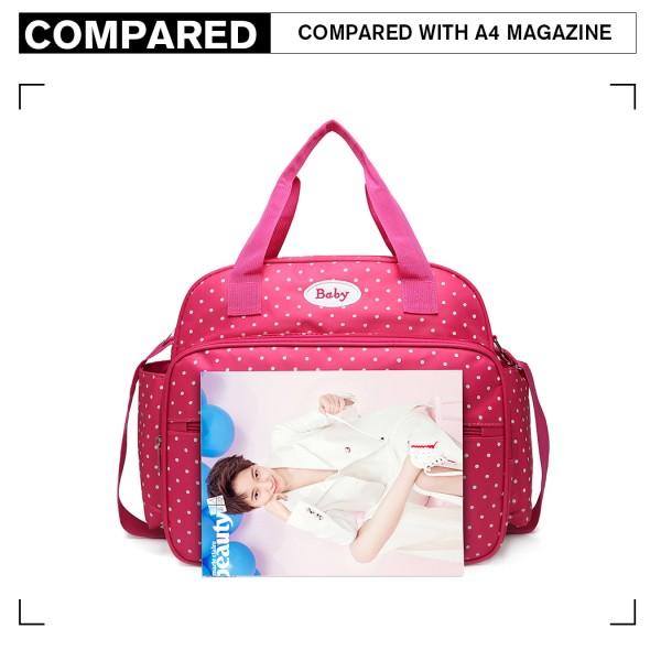 08300 - Kono Polka Dot Baby Changing Bag with Changing Mat - Pink