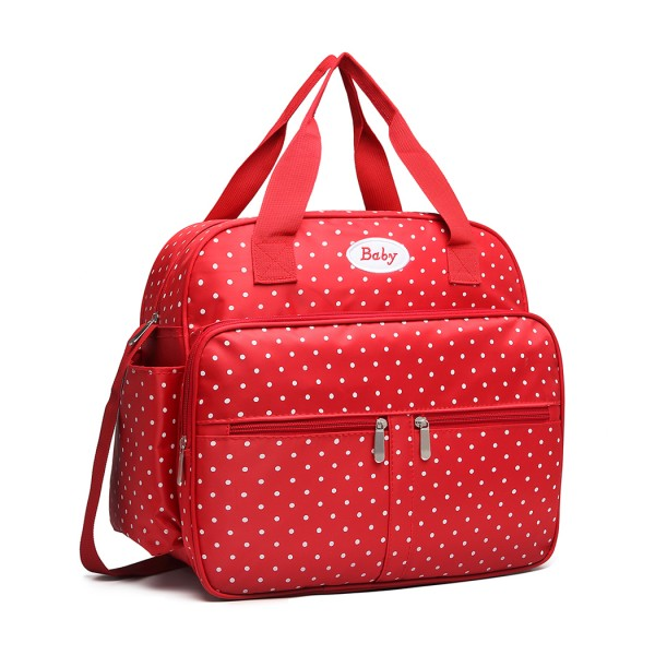 08300 - Kono Polka Dot Baby Changing Bag with Changing Mat - Red