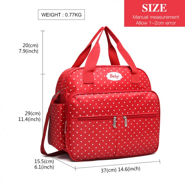 08300 - Kono Polka Dot Baby Changing Bag with Changing Mat - Red