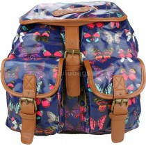 L1103BO - Miss Lulu Oilcloth Backpack Butterfly Navy