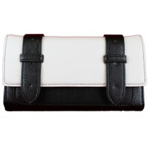 L1121 - Miss Lulu Faux Leather Flap Over  Purse Wallet  Plain Black / White