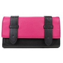L1121 - Miss Lulu Faux Leather Flap Over  Purse Wallet  Plain Black / Plum
