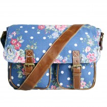 L1157F - Miss Lulu Canvas Satchel Flower Polka Dot Navy