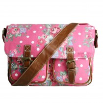 L1157F - Miss Lulu Canvas Satchel Flower Polka Dot Plum