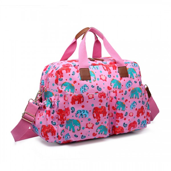 L1501NEW-E - Miss Lulu Maternity Baby Changing Bag Elephant Pink