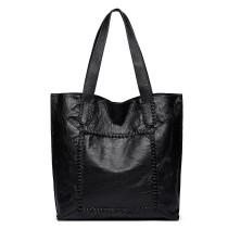 1826-MISS LULU PU LEATHER 2 PCS SET HANDBAG TOTE SHOULDER BAG BLACK