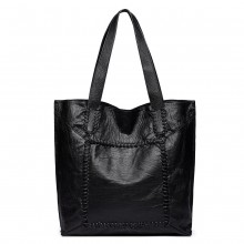 1826-MISS LULU TWO PIECE TOTE AND CROSS BODY BAG SET BLACK