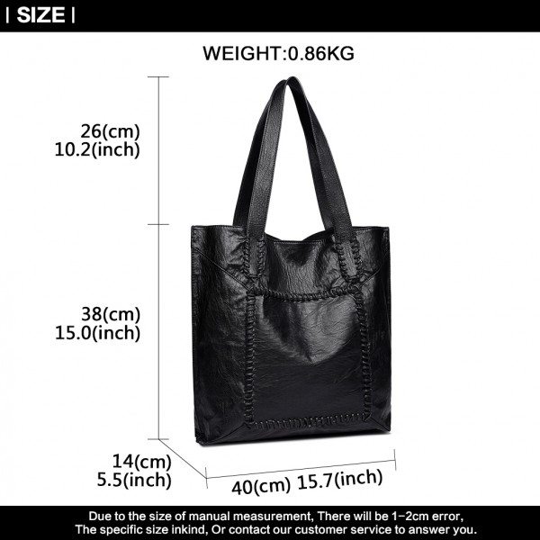 1826 - Miss Lulu Two Piece Tote and Cross Body Bag Set - Black
