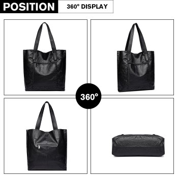 1826-MISS LULU PU LEATHER 2 PCS SET HANDBAG TOTE SHOULDER BAG BLACK