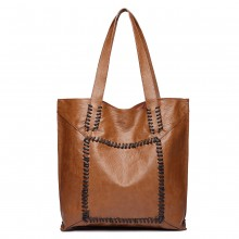 1826-MISS LULU TWO PIECE TOTE AND CROSS BODY BAG SET BROWN