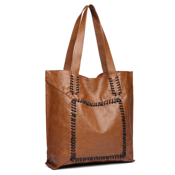 1826 - Miss Lulu Two Piece Tote and Cross Body Bag Set - Brown