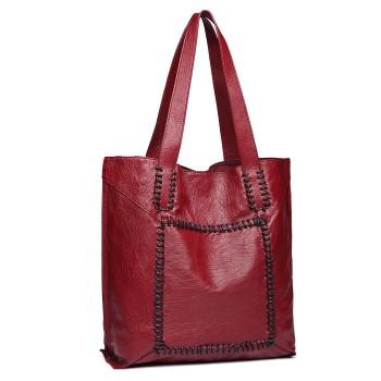 1826-MISS LULU PU LEATHER 2 PCS SET HANDBAG TOTE SHOULDER BAG BURGUNDY