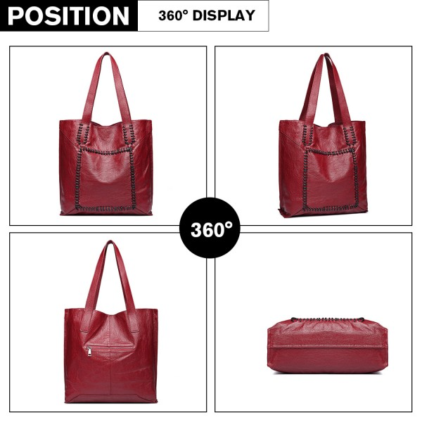 1826 - Miss Lulu Two Piece Tote and Cross Body Bag Set - Burgundy