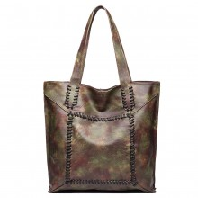 1826-MISS LULU TWO PIECE TOTE AND CROSS BODY BAG SET CAMO
