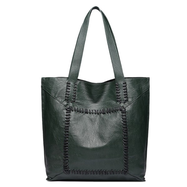 1826 - Miss Lulu Two Piece Tote and Cross Body Bag Set - Dark Green