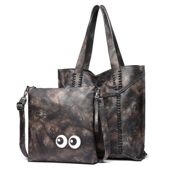 1826-MISS LULU PU LEATHER 2 PCS SET HANDBAG TOTE SHOULDER BAG DARK GREY